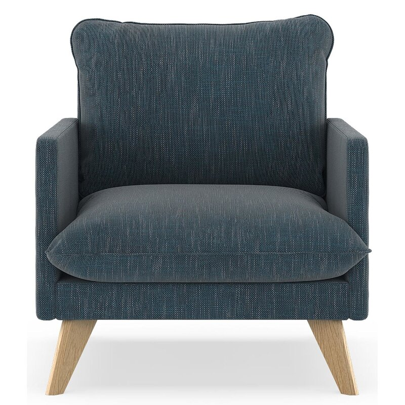 17 Stories  Dillingham Armchair Finish: Natural, Upholstery: Navy Gray