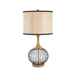Modern contemporary metal wire table lamp allmodern rishi 18 table lamp with metal wire cage and faux wood shade keyboard keysfo Image collections