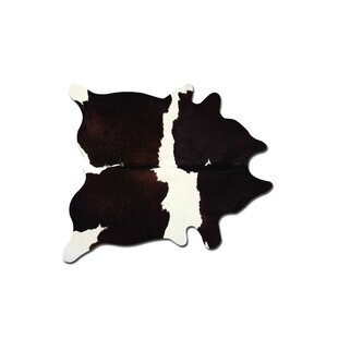 Bargain Bartelt Cowhide Chocolate/White Area Rug ByFoundry Select