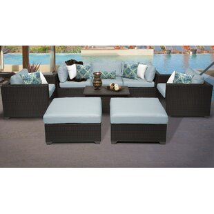 Meier Outdoor 8 Piece Rattan Sofa Seating Group with Cushions