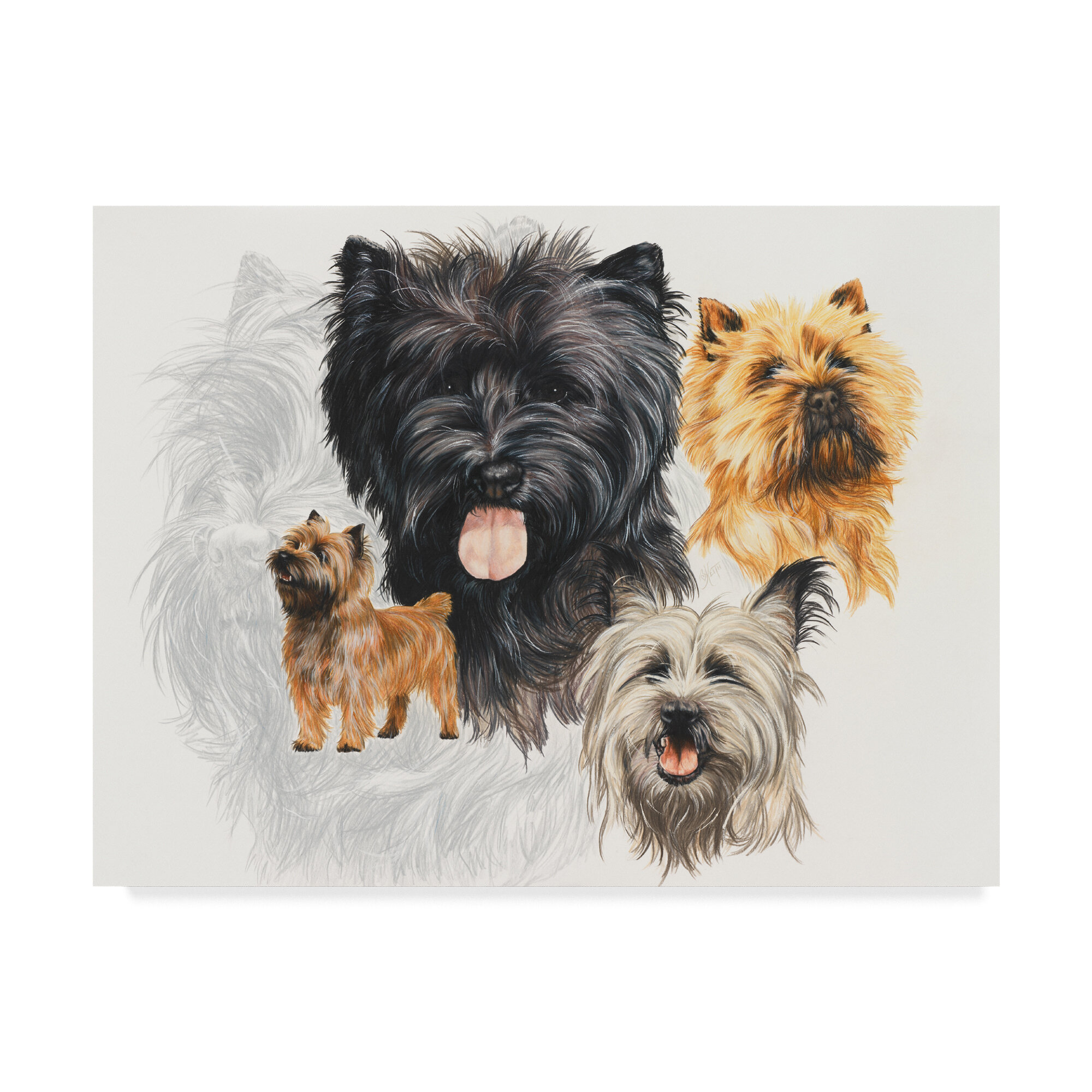 Icart Cairn Terrier Dogs Lady Singing Vintage Poster Reproduction FREE SHIPPING