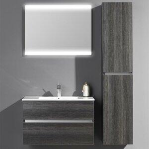 Belfry Bathroom 80 cm Wandmontierter Wandtisch Ceramic Line mit Spiegel und Aufbewahrungsschrank