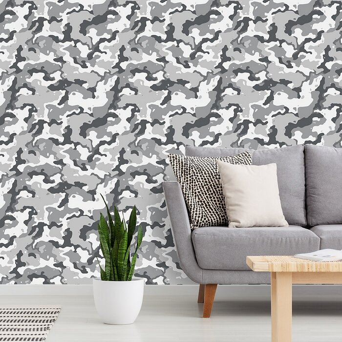 Daigle Camouflage 48 L X 24 W Paintable And Stick Wallpaper Panel