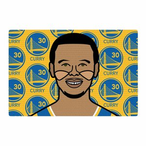 Will Wild Steph Curry Sports Yellow/Brown/Blue Area Rug