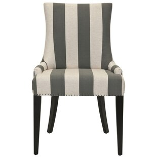 Brayden Studio Alpha Centauri Upholstered Side Chair in Linen - Gray Stripe with Carpenter Nailheads