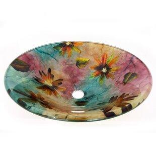 Legion Furniture Spring Flowers Glass Circular Vessel Bathroom Sink