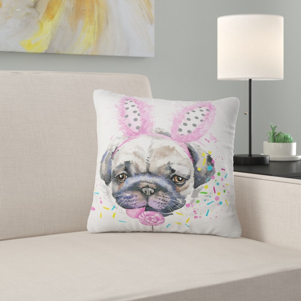 East Urban Home Animal Cute Dog With Feather Hat Pillow Wayfair