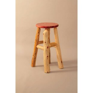 Kiara Cedar 24 Log Bar Stool Millwood Pines