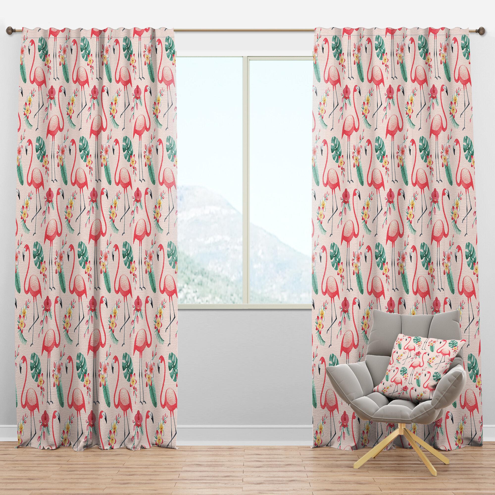 Designart Mid Century Tropical Botanicals And Flamingo Ii Floral Semi Sheer Thermal Rod Pocket Single Curtain Panel Wayfair