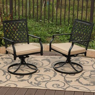 Gates Swivel Patio Dining Chair with Cushion (Set of 2)