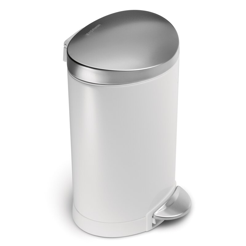1.6 Gallon Semi-Round Step Trash Can, White Steel with Stainless Steel Lid