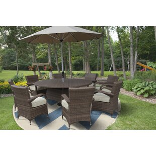 Darby Home Co Fontinella Premium and Lush Complete 10 Piece Dining Set with Cushions/ with Umbrella