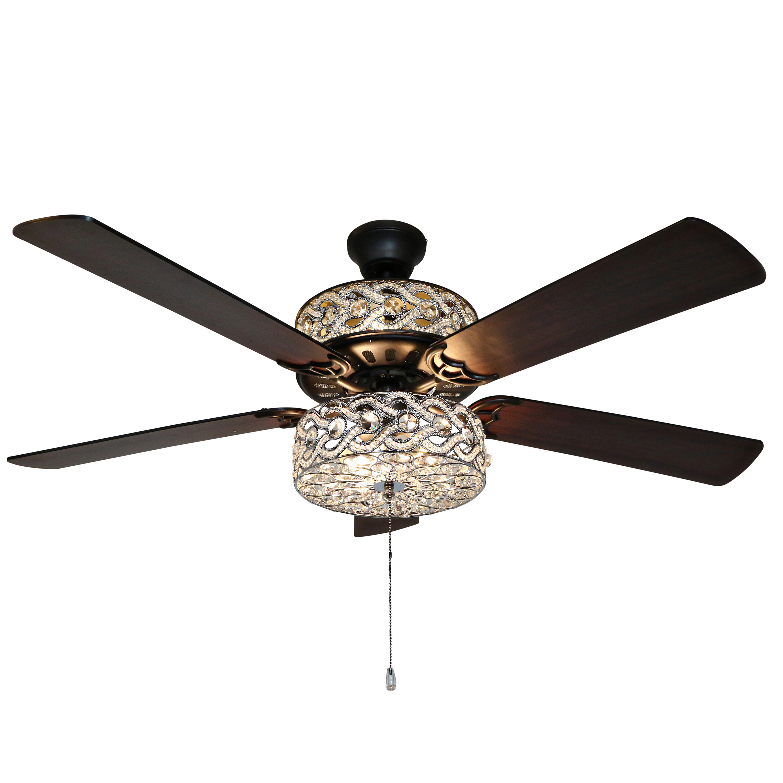 House Of Hampton 52 Elkton 5 Blade Crystal Ceiling Fan With Pull Chain And Light Kit Included Reviews Wayfair