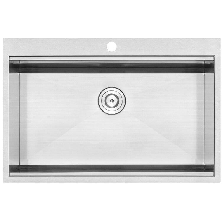 """Bradford Series 33"""" L x 22"""" W Drop-In Kitchen Sink"""