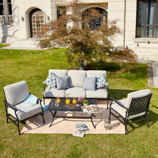 Trevon 4 Piece Sofa Seating Group with Cushion