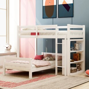 Clivden Twin over Twin Loft Bed with Shelves