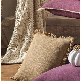 Andrade Burlap Natural Fringed Cotton Throw Pillow