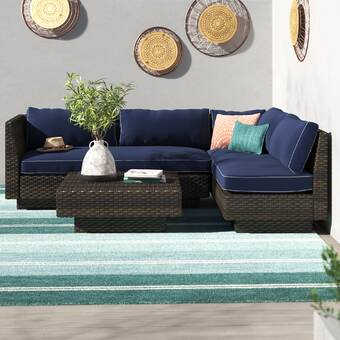 Alcott Hill Renteria 10 Piece Sofa Seating Group With Cushions Reviews Wayfair