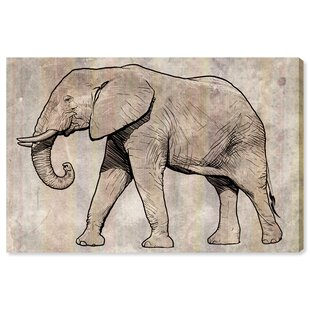 Tribal Light Elephant' Drawing Print on Wrapped Canvas by HoneyBee Nursery