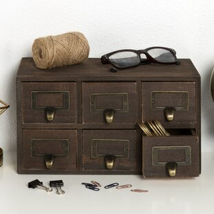 Review Kristian Apothecary Solid Wood 6 Drawer Desktop Organizer by Gracie Oaks