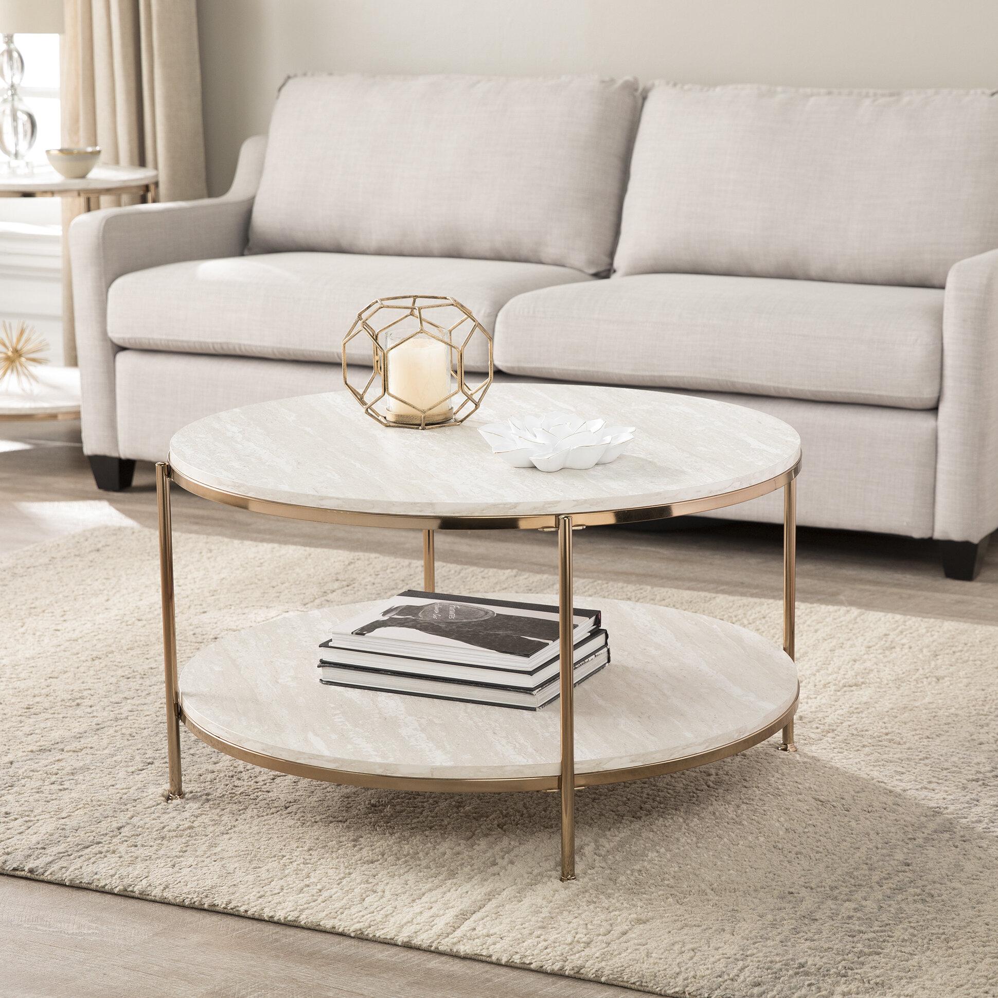 Mercer41 stamper faux stone coffee table wayfair