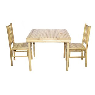 3 Piece Solid Wood Dining Set Bamboo54