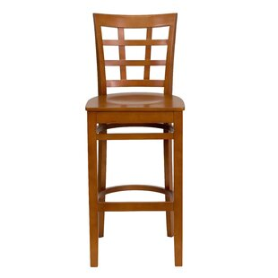 Window Back Wooden Restaurant Bar Stool Charlton Home