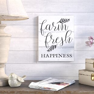 farm fresh happiness black and white script wall art