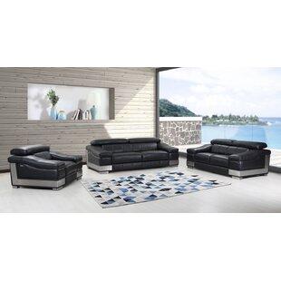 Hawkesbury Common 3 Piece Leather Living Room Set by Orren Ellis