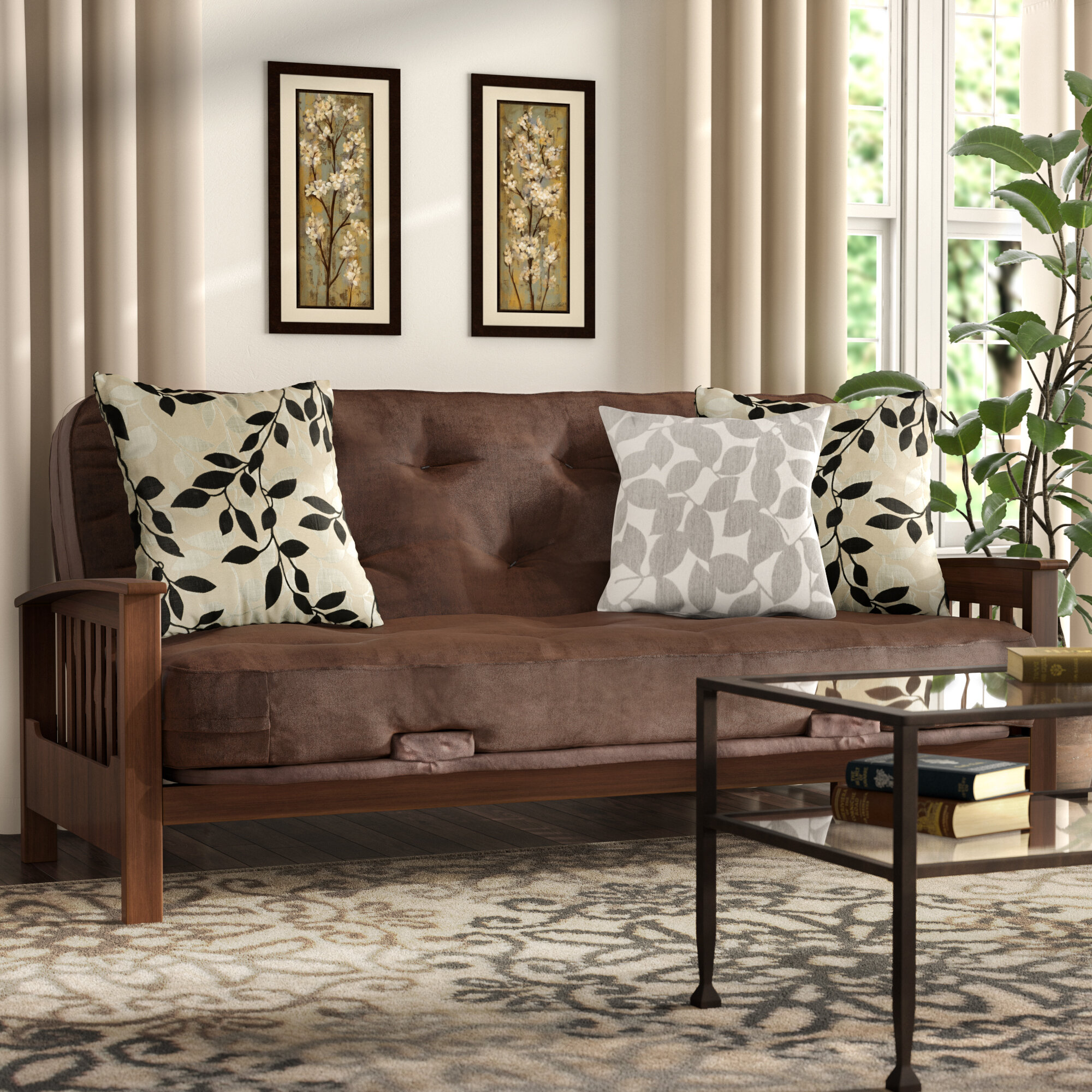 Magnificent Andover Mills Massengill Wood Arm Full Futon And Mattress Caraccident5 Cool Chair Designs And Ideas Caraccident5Info