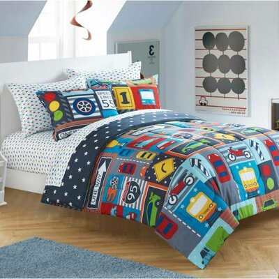 enigma bed in a bag toddler comforter set in busy cars