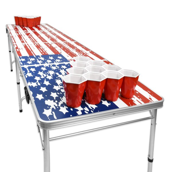 GoPong 8-Foot Portable Folding Beer Pong//Flip Cup Table Includes 6 Pong Balls