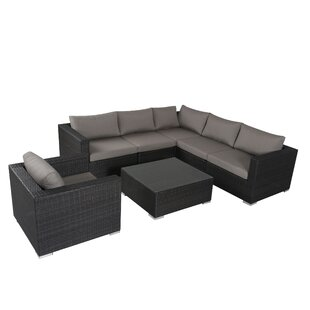 Brayden Studio Strawn 7 Piece Sectional Set with Sunbrella Cushions