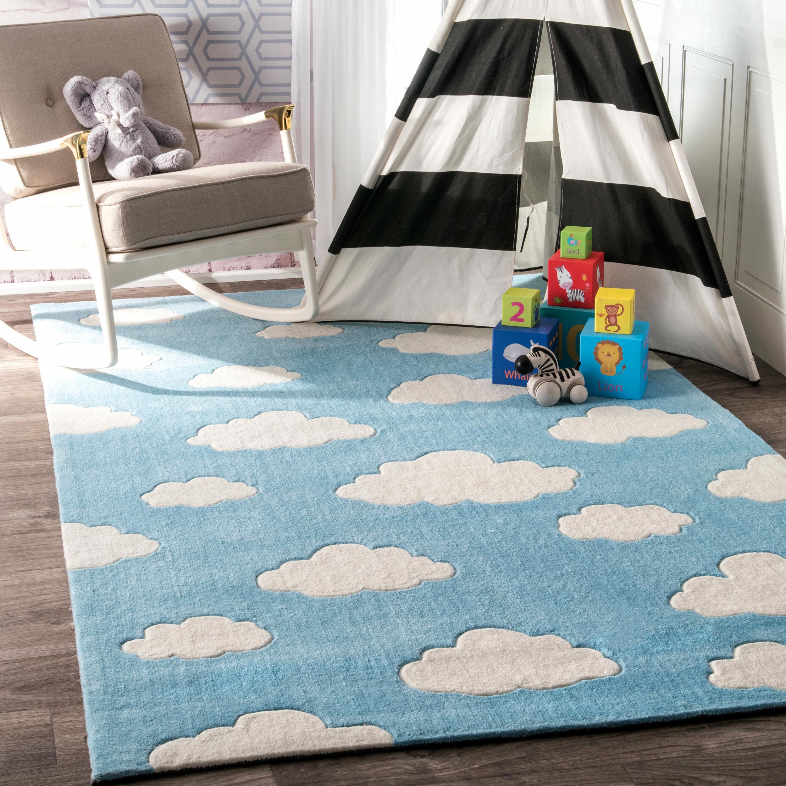 Viv Rae Lily Cloudy Sachiko Hand Tufted Blue Area Rug Reviews Wayfair