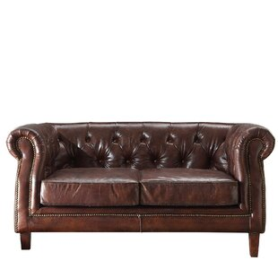 Williston Forge Kasha Top Grain Leather Chesterfield Loveseat
