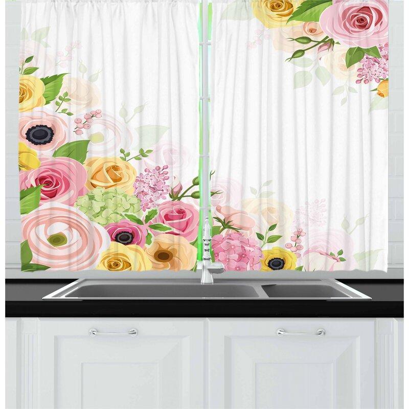 East Urban Home 2 Piece Anemone Flower Kitchen Curtain Wayfair