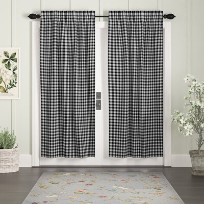 "August Grove Caulder Buffalo Check Lined 100 percent Cotton Curtain Panels  Curtain Color: Black, Size per Panel: 36"" W x 63"" L"