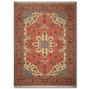 Inexpensive One-of-a-Kind Espanola Traditional Persian Hand-Knotted 10'1 x 14'2 Wool Rose/Ivory/Blue Area Rug By Isabelline