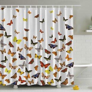 Comparison Butterflies Print Shower Curtain ByAmbesonne