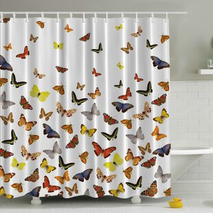 Butterflies Print Single Shower Curtain