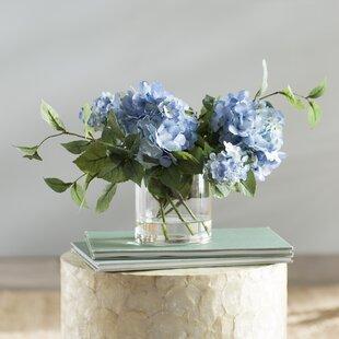 Faux flower arrangements wayfair hydrangea flower spray arrangement mightylinksfo