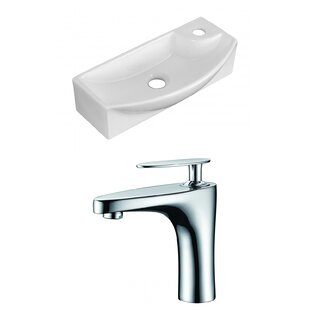 Price Check Ceramic 17.75 Wall Mount Bathroom Sink with Faucet ByRoyal Purple Bath Kitchen