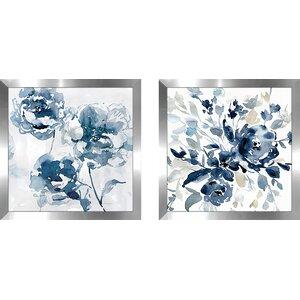 'Indigo Garden I' 2 Piece Framed Print Set on Glass
