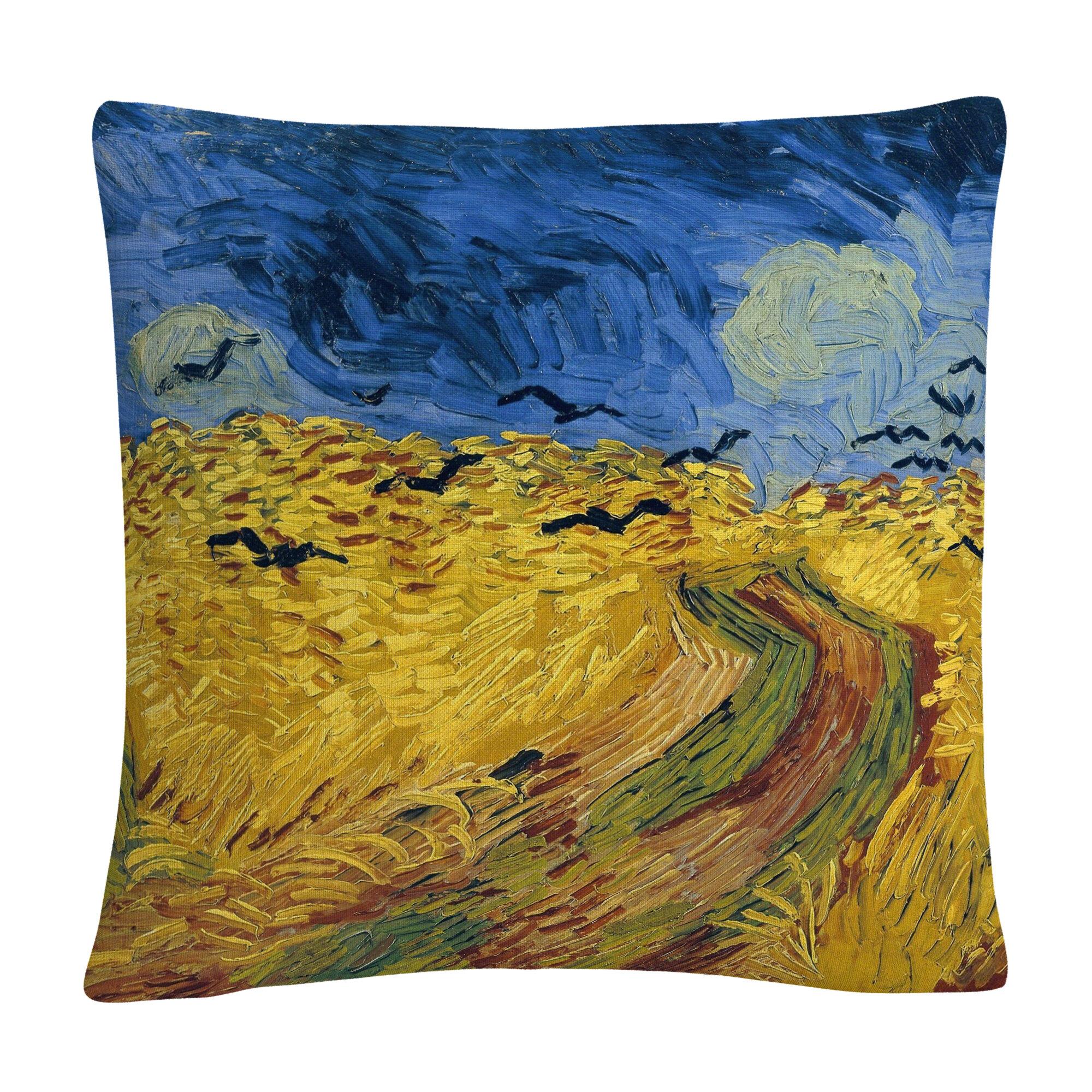 Fleur De Lis Living Romano Wheatfield With Crows Throw Pillow Wayfair