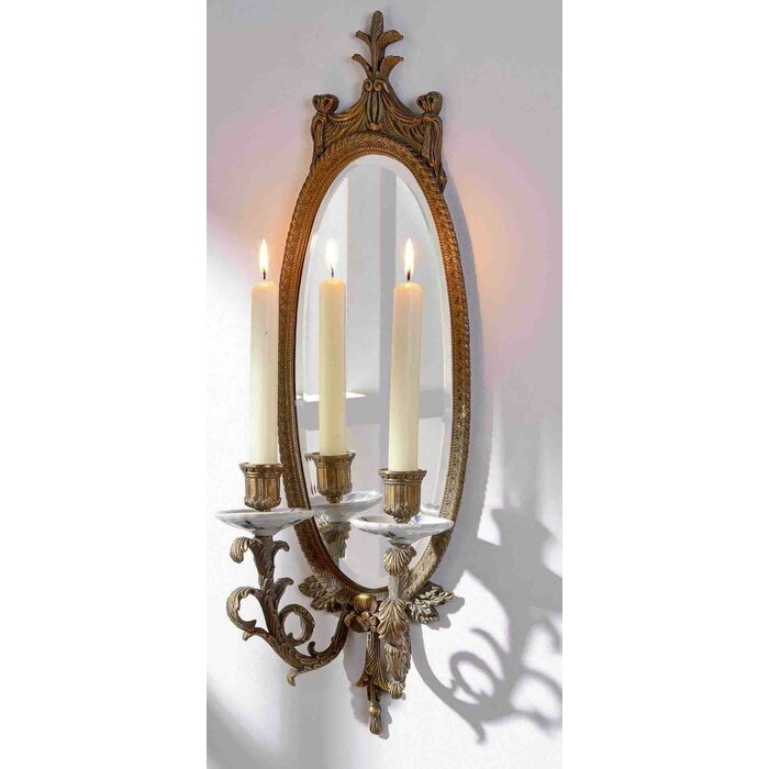Candlestick hanging accent wall mirror