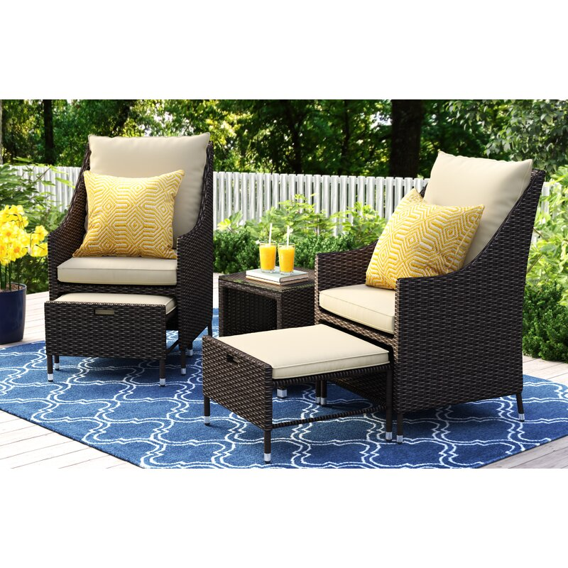 Serta At Home Laguna 5 Piece Conversation Set With Cushions Reviews Wayfair