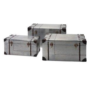 Charlton Home Ristaino 3 Piece Aluminum Trunk Set