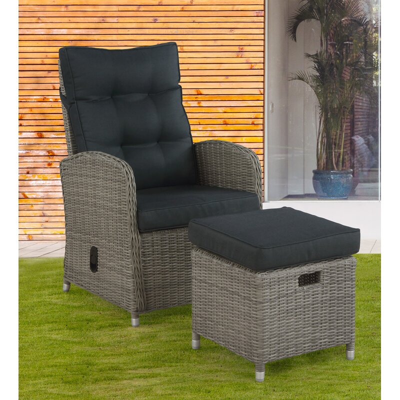 Andover Mills Acuff Patio Chair With Cushions And Ottoman Wayfair
