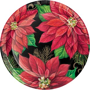 Keating Poinsettia Paper Appetizer Plate (Set of 24)