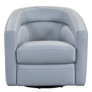 Pleasant Silloth Contemporary Genuine Leather Swivel Barrel Chair Beatyapartments Chair Design Images Beatyapartmentscom
